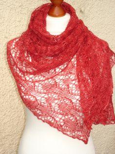 Lace-Stola aus Merino/Seide in leuchtendem rot