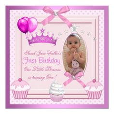 1st Birthday Girl Pink Cupcakes White Pearl Baby by zizzago.com