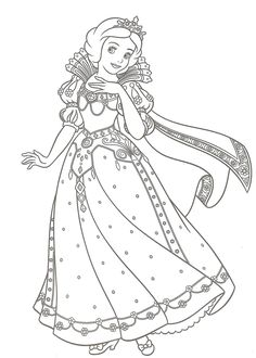 Princess Snow White Was Given A New Dress Christmas Day Disney Coloring Pages
