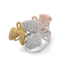 """Victoria Wieck Absolute™ """"Butterfly"""" Tritone Ring"""