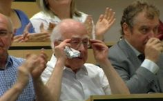 Peter Higgs overwhelmed during the annoucement at CERN today. A day of wonder and joy for humans.   // 'It's really an incredible thing that it's happened in my lifetime.' Peter Higgs