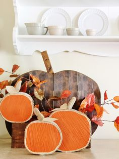 DIY Wood Slice Pumpkins fall decor