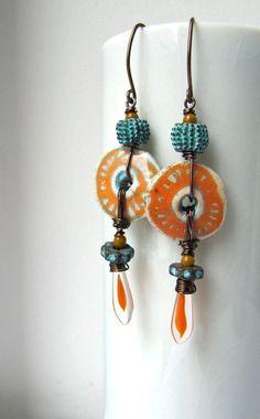 The dancing - handmade earrings, beaded earrings, art bead earrings, ceramic earrings, orange earrings