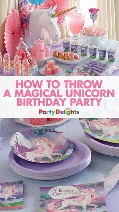 Find out how to throw a magical unicorn birthday party with our unicorn party ideas. Read the blog post for unicorn party decorations, party food ideas, party games and more. Perfect for a kids' birthday party.
