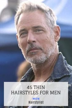 : 45 Thin Hairstyles for Men : Learn how to style a modern thin hairstyle for men Mens Hairstyles Widows Peak, Mens Hairstyles Side Part, Mens Hairstyles Round Face, Older Mens Hairstyles, Clip Hairstyles, Haircuts For Men, Celebrity Hairstyles, Professional Hairstyles For Men, How To Cut Your Own Hair