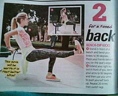 Seventeen Magazine June/July issue. Playground workouts. For a toned back. Bench-Dip Kicks.