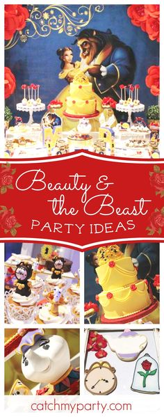 this splendid Beauty and the Beast birthday party. The dessert table and decor area amazing! See more party ideas and share yours at Beauty And The Beast Theme, Beauty And The Best, Disney Beauty And The Beast, Kids Party Themes, Party Ideas, Theme Parties, Party Party, 4th Birthday Parties, Birthday Ideas
