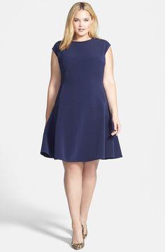 Halogen Ottoman Knit Fit   Flare Dress (Plus Size) Vestito A Taglia  Calibrata 97637f1b244