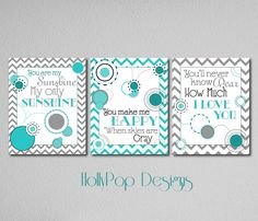 Baby Boy You are My Sunshine Teal Gray Nursery by HollyPopDesigns, $35.00