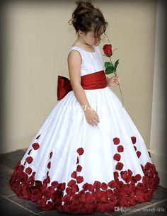 The long flower girl dresses which match the flowers- 2015 Flower Girl Dresses for Wedding Wine Red and White Sash Ball Gown Sweep Train Crew Little Girls Pageant Gowns First Communion Dresses is offered in sweet-life and on DHgate.com inexpensive flower girl dresses along with cream flower girl dresses are on sale, too.