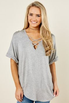 Made To Live In Grey Top at reddressboutique.com