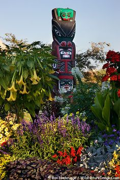 Totem Pole in a colorful flower bed along the Inner Harbour, Victoria, Vancouver Island, British Columbia, Canada