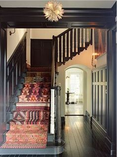 Rug covered stairs