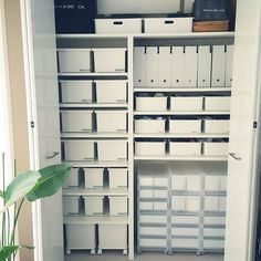 White/ clear bins for storage. Pantry Storage, Closet Storage, Locker Storage, Organisation Hacks, Japanese Interior, Office Workspace, House Smells, Shelf Design, Inspired Homes
