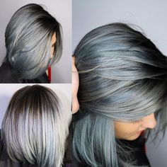 """Love this color, especially the bottom left.. I'd like a bit more of my natural color blended with this, which includes my 'gray streaks I already have.. hmmm """"beautiful, steel blue/gray color with a shadowed root using @pravana…"""""""