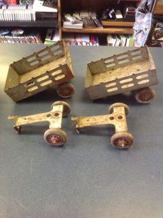 1930's Vintage Marx Stake Wagon Toy Trailer Pressed Steel Wood Wheels Lot | eBay