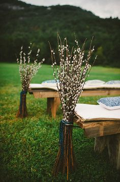 end-of-bench arrangements: pussy willow  Canyon Kitchen at Lonesome Valley in Cashiers, North Carolina.  #kindredeventstudio #destinationwedding