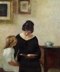 Interior with a mother reading aloud to her daughter. Carl Vilhelm Holsøe (Danish, 1863-1935). Oil on canvas.  Holsøe's pieces often deal with narratives involving the home as with this piece. Here, the mother reads aloud as her child focuses on her lips. Holsøe often concentrated on interiors with a masterful technique that reflected the influence of the Dutch masters such as Vermeer.