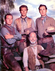Rawhide - Gill Favor (Eric Fleming), Rowdy Yates (Clint Eastwood), Pete Nolan (Sheb Wooley)  and George Washington Wishbone (Paul Brinegar)