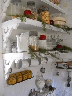 Shabby Chic Tiny Retreat: My Tiny House===I like the look of these shelves! stylish.