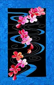 Sylvia Pippen; master of combining appliqué with sashiko to produce colorful art quilts with a tropical flavor.
