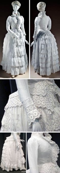 Dress, European, ca. Cotton plain weave with cotton cutwork embroidery (broderie anglaise) & cotton needle lace. Los Angeles County Museum of Art 1880s Fashion, Edwardian Fashion, Vintage Fashion, Historical Costume, Historical Clothing, Vintage Dresses, Vintage Outfits, Victorian Dresses, Bustle Dress
