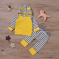 Zefeng Baby Girls Boys Long Sleeve Yellow Hooded Tops   Leggings Trousers Outfits Set Clothes 612months -- For more information, visit image link.-It is an affiliate link to Amazon. #BabyClothing