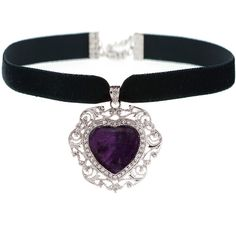 MERIDA Amethyst Heart Choker ($33) ❤ liked on Polyvore featuring jewelry, necklaces, heart choker, choker necklace, amethyst stone necklace, heart necklace and amethyst jewelry