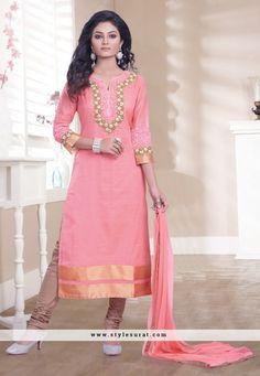 Pink color chanderi silk fabric designer party wear straight long salwar suit-60774