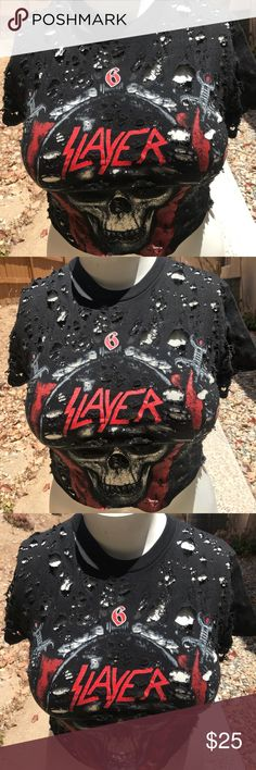 Slayer crop top Slayer  wicked Crop Top. Complete the look with some shredded jeans or cutoffs. Perfect summer crop top, handmade on of a kind. Tops Tees - Short Sleeve