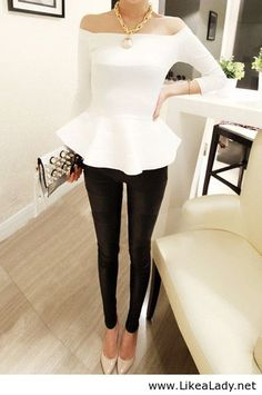Black and white fashion - peplum top and skinnies