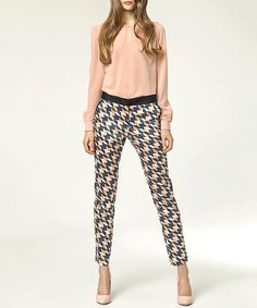 Take a look at this NIFE: Blue Printed Eva Trousers by NIFE on #zulily today!