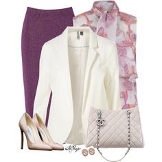 A fashion look from March 2016 featuring floral shirt, white blazers and midi skirt. Browse and shop related looks. Office Fashion, Work Fashion, Fashion Looks, Purple Skirt, Professional Outfits, Work Attire, Sexy Outfits, Touch, Prada