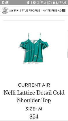 6fda57ed3d47 Current Air Nelli Lattice Detail Cold Shoulder Top Pretty Outfits, Pretty  Clothes, Favorite Color