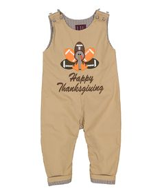 Love this Lil Cactus Light Brown 'Happy Thanksgiving' Overalls - Infant & Toddler by Lil Cactus on #zulily! #zulilyfinds