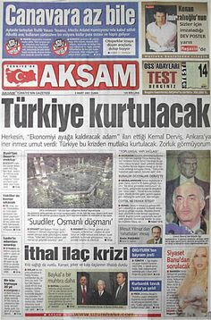 Akşam gazetesi 2 mart 2001