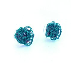 Turquoise Stud Earrings Wire Crochet by DesignsbyNatureGems