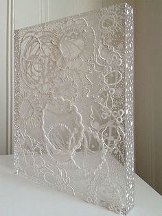 Georgette Benisty - painting with lace on plexiglass