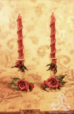 Deep Red Rose Miniature Candlestick Set Hand by FairyWillow, $20.00