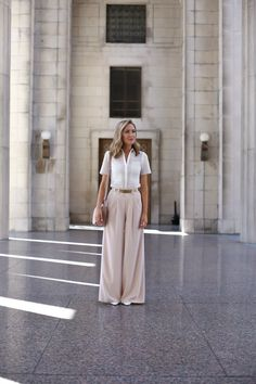 I wore this look last week to speak at a conference in Nashville. Between the billowy, lightweight blush wide leg pants and breathable eyelet shirt, it was the perfect summer work look for that Tennessee heat and humidity. Nyc Fashion, Work Fashion, French Fashion, Style Fashion, Fashion Tips, Classy Cubicle, Summer Outfits For Teens, Polo Shirt Women, Camisa Polo