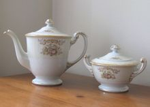 Vintage 1940's Sango China Teapot and Sugar Bowl from WhimsicalVintage on Ruby Lane