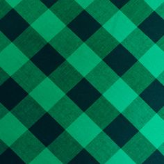 Fabric Store - Stretch Shirting Large Checked Plaid - ML206580 - Green / Black