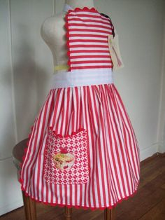 Girls Apron Peppermint Stripe Embroidered Cupcake by Corakids, $25.00