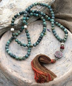 African turquoise gemstone mala necklace - look4treasures on Etsy