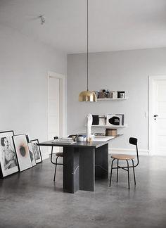 found by hedviggen ⚓️ on pinterest | kitchen | interior design | interior styling | walls | floor | modern | cement | concrete | minimal |industrial | items | details | ware | utensils |custom marble desk by Norm Architects.