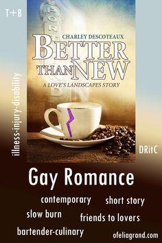 Better Than New by Charley Descoteaux - contemporary gay romance book #mmromance #gayromancebooks #readwithofelia Slow Burn, Reading Challenge, Character Names, Romance Books, Bartender, Short Stories, Burns, Gay, Contemporary