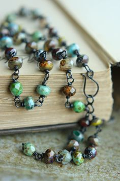 Short Oxidized Raw Copper Necklace With Wire Wrapped, Multi-Coloured Czech Glass Rondelles