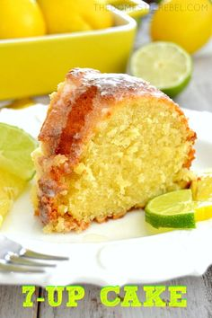 How yummy! This buttery, zesty Pound Cake is AMAZING! Bursting with juicy lemon and lime flavor, the soda gives this cake such a moist and tender crumb and a wonderful crisp crust. Lemon Curd Dessert, 7up Pound Cake, Pound Cake Recipes, 7 Up Cake, Eat Cake, Food Cakes, Cupcake Cakes, Just Desserts, Dessert Recipes