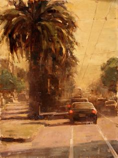 ** Terry Miura - Evening Palms 16 x 12 inches oil on linen City Landscape, Urban Landscape, Landscape Paintings, Landscapes, Oil Paintings, Urban Painting, Portraits, Watercolor Illustration, Urban Art