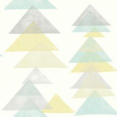 York Wallcoverings Dwell Studio Baby & Kids Triangles Wallpaper in Pink/Yellow, Whimsical Prepasted Wallpaper, Wallpaper Panels, Kids Wallpaper, Print Wallpaper, Wallpaper Roll, Wallpaper Ideas, Stripped Wallpaper, Design Repeats, Contemporary Wallpaper
